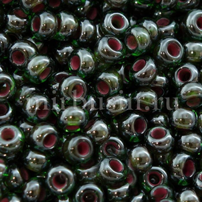 Бисер 51128 Чешский Preciosa 10/0, Прозрачный радужный TR, Цвет: Зеленый, Круглый, (УТ0001876)