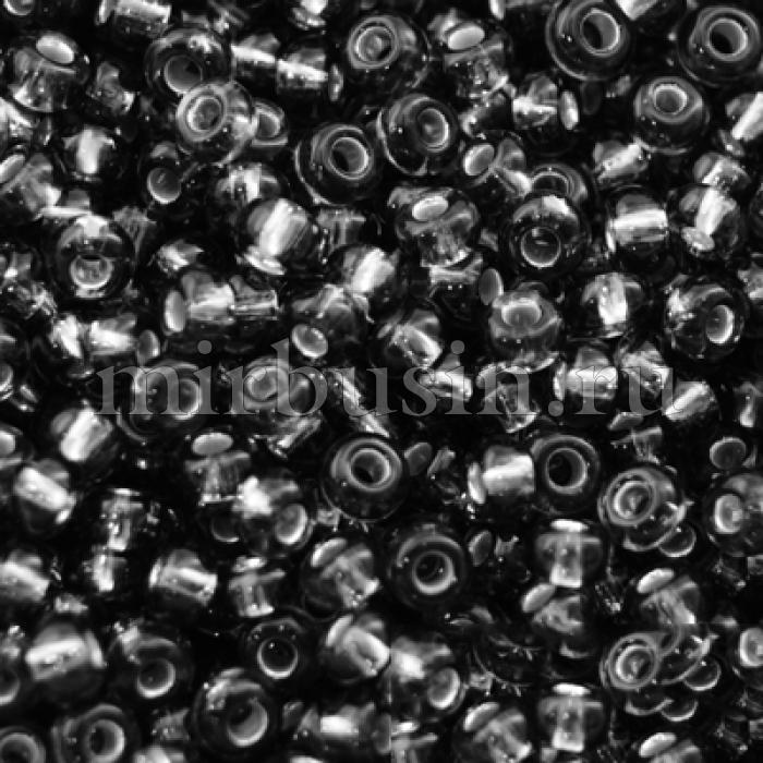 Бисер 47010 Чешский Preciosa 10/0, Прозрачный с серебряной полосой TSL, Черный, Круглый, (УТ0001969)
