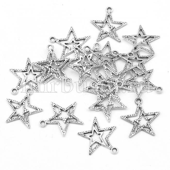 Кулон Звезда, Металл, Цвет: Античное Серебро, Размер: 23x20.5x2мм, Отверстие 1.5мм, (УТ100008747)