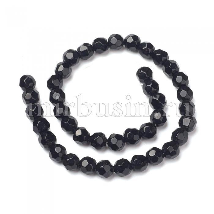 Бусины стеклянные граненые, круглые непрозрачные, Цвет: Черный, Диаметр: 8мм, Отверстие 1мм, около 40шт/35см/нить, (БА000001271)