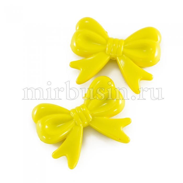 Пластиковые Бусины Бант Акрил, Непрозрачные, Цвет: Желтый
