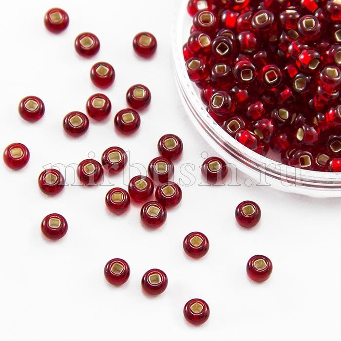 Бисер 97070 Чешский Preciosa 10/0, Прозрачный с серебряной полосой TSL, Красный, Круглый, (УТ100016221)