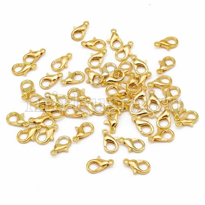 Застежка Карабин-Лобстер, Металл, Цвет: Золото, Размер: 12х6мм, Отверстие 1.5мм, (БА000001056)