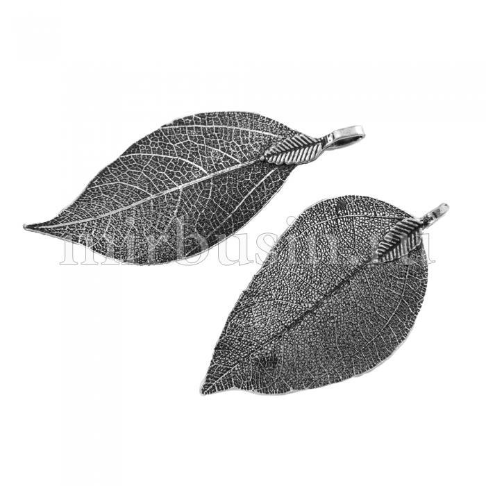 Кулон Натуральный Лист, Гальваника, Концевик из Железа, Цвет: Античное Серебро, Размер: 50~80x20~35x1мм, Отверстие 3x6мм, (УТ100015750)