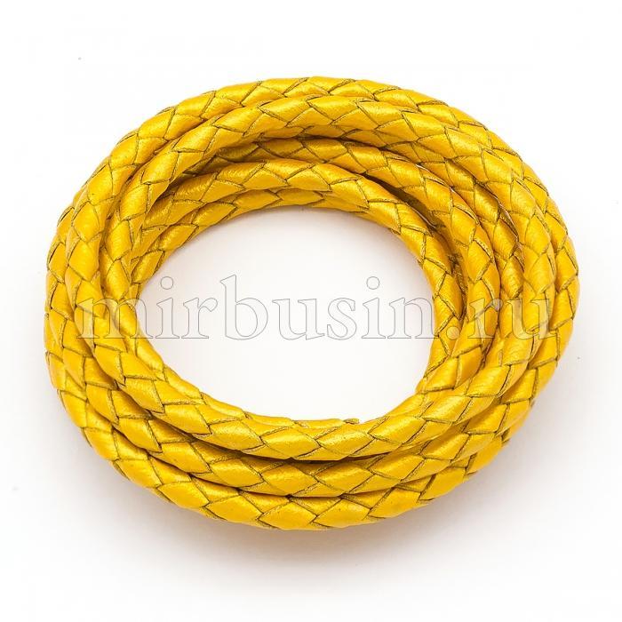 Шнур Натуральная Кожа, Плетеный, Цвет: Золотистый, Размер: Диаметр 3мм, (УТ100015821)