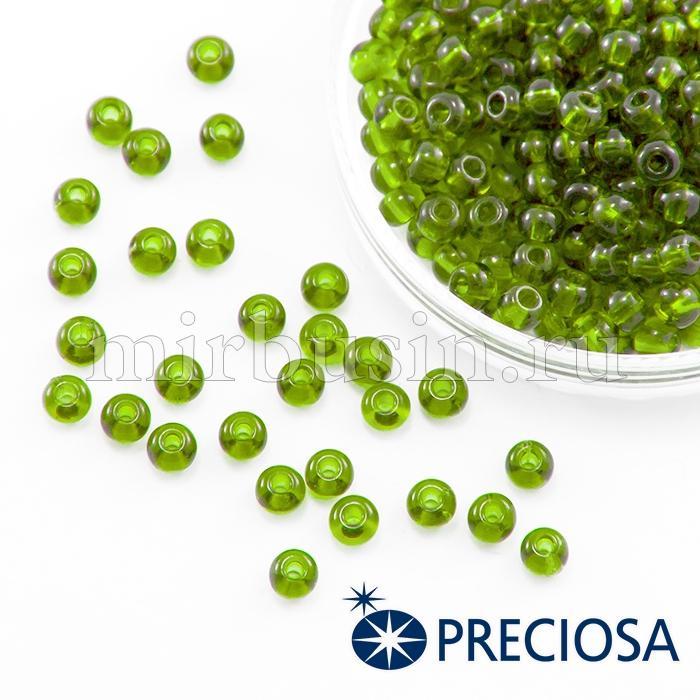 Бисер 50430 Чешский Preciosa 6/0, Прозрачный NT, Зеленый, Круглый, (УТ100015852)
