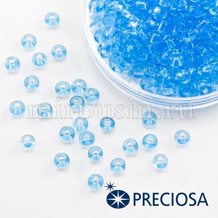 Бисер 60010 Чешский Preciosa 6/0, Прозрачный NT, Синий, Круглый, (УТ100015857)