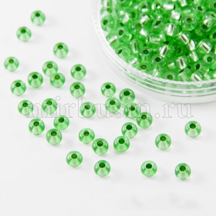 Бисер 08256 Чешский Preciosa 6/0, Кристалл Прозрачный CTCLS, Зеленый, Круглый, (УТ100015870)