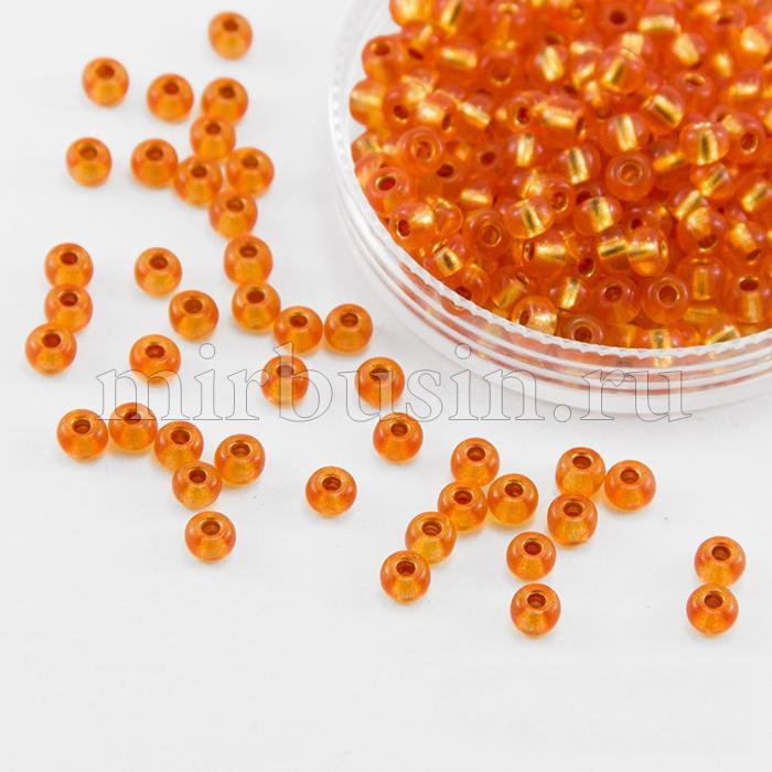 Бисер 08289 Чешский Preciosa 6/0, Кристалл Прозрачный CTCLS, Оранжевый, Круглый, (УТ100015874)