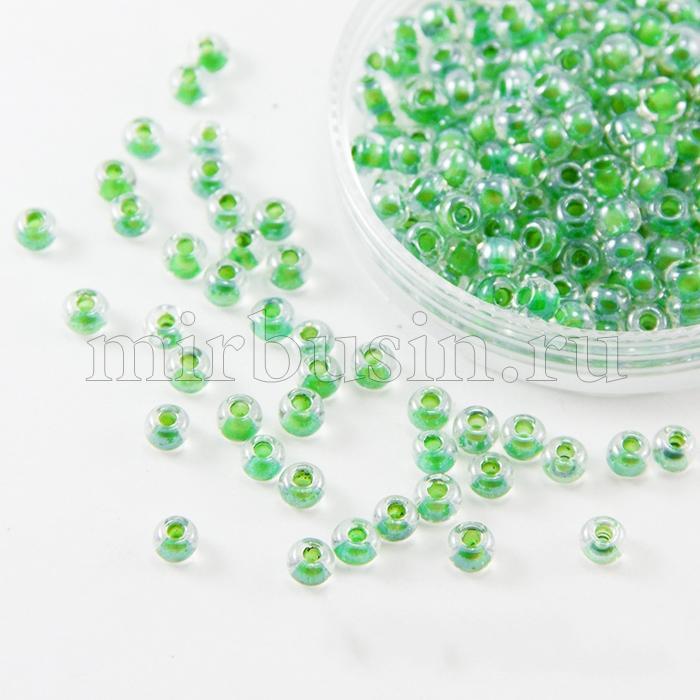 Бисер 38656 Чешский Preciosa 6/0, Прозрачный Окраска из Середины CTC, Зеленый, Круглый, (УТ100015901)