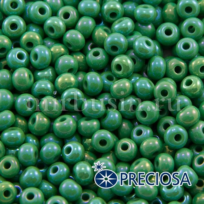 Бисер 54250 Чешский Preciosa 6/0, Непрозрачный Радужный OL, Зеленый, Круглый, (УТ100015917)