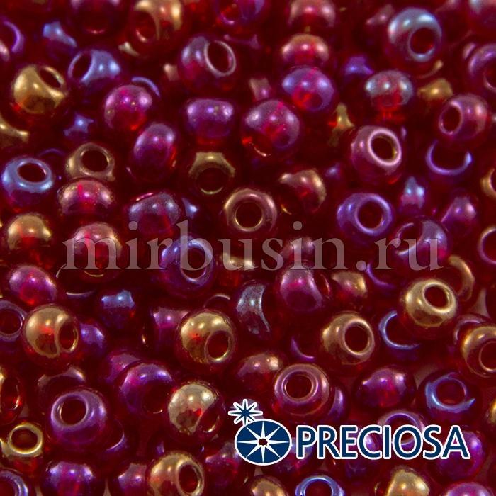 Бисер 91090 Чешский Preciosa 6/0, Прозрачный радужный TR, Красный, Круглый, (УТ100015923)