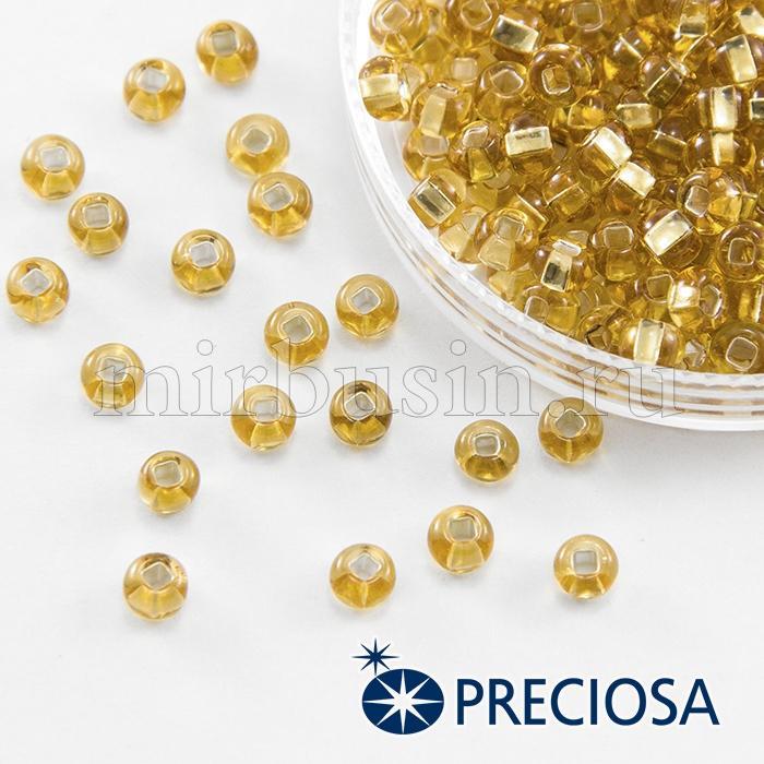 Бисер 17050 Чешский Preciosa 6/0, Прозрачный с серебряной полосой TSL, Золотой, Круглый, (УТ100015925)