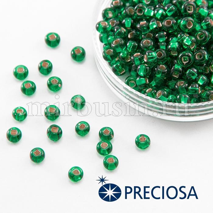 Бисер 57100 Чешский Preciosa 6/0, Прозрачный с серебряной полосой TSL, Зеленый, Круглый, (УТ100015930)