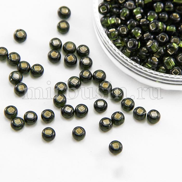 Бисер 57290 Чешский Preciosa 6/0, Прозрачный с серебряной полосой TSL, Зеленый, Круглый, (УТ100015933)