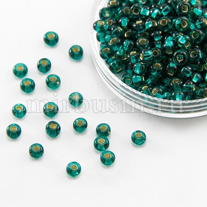 Бисер 57710 Чешский Preciosa 6/0, Прозрачный с серебряной полосой TSL, Зеленый, Круглый, (УТ100015934)
