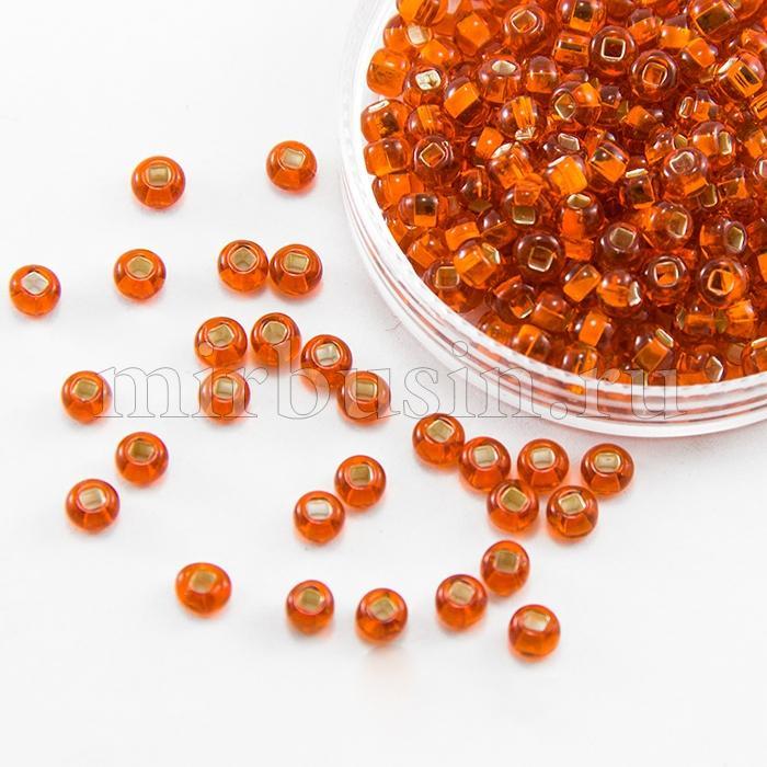 Бисер 97030 Чешский Preciosa 6/0, Прозрачный с серебряной полосой TSL, Оранжевый, Круглый, (УТ100015938)