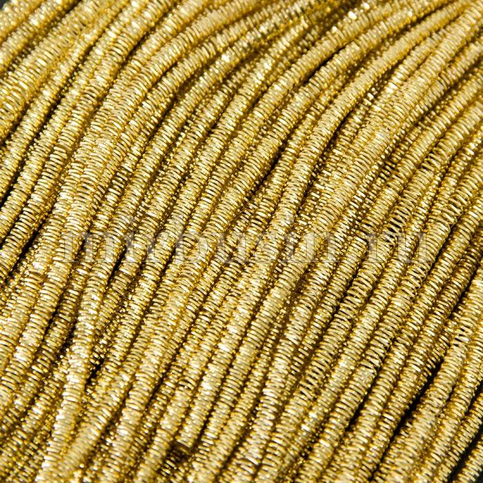 Канитель Трунцал 4 грани 3мм, Цвет: Золото Классика T21, отрезки не менее 8см, около 60см/5г, (УТ100015980)