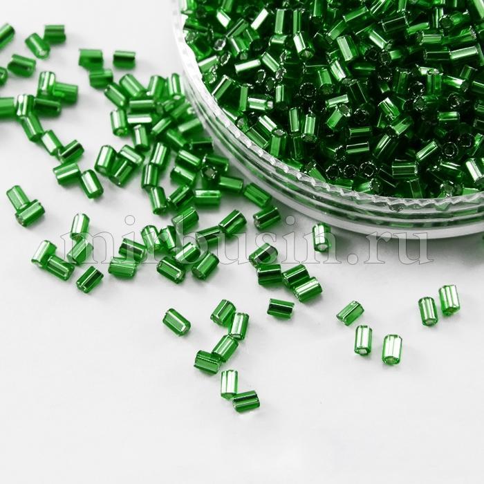 """Бисер Стеклярус 35122/57620/1"""" Чешский Preciosa, Прозрачный с серебряной полосой TSL, Зеленый, (УТ100016007)"""