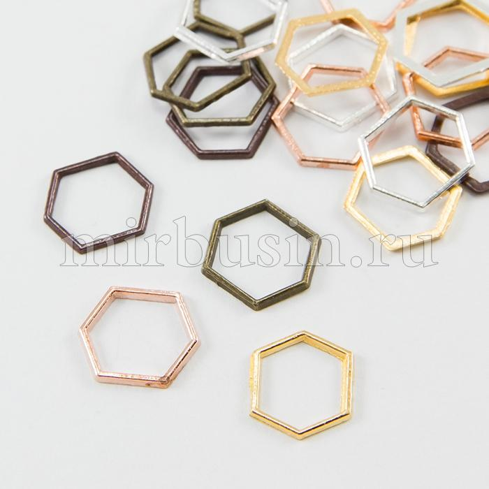 Коннектор Шестиугольник из Сплава, Шестиугольник, Цвет: Микс, Размер: 12x14x1мм, (УТ100016391)