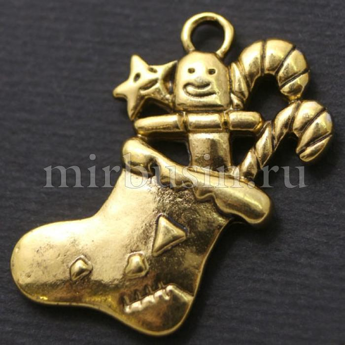 Кулон Носок, Металл, Цвет: Античное Золото, Размер: 29х19х3мм, Отверстие 3мм, (БА000001538)