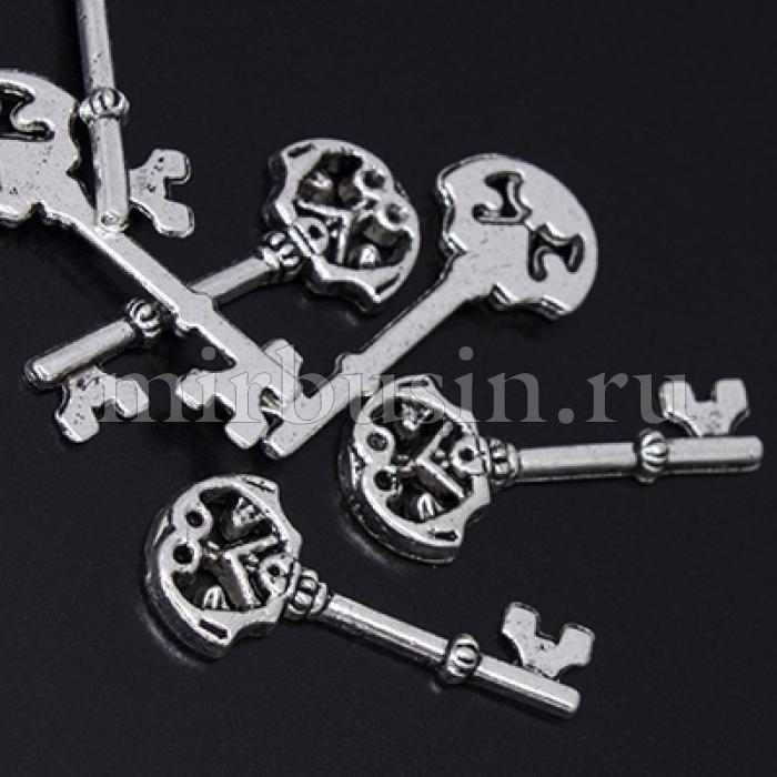 Кулон Ключ, Металл, Цвет: Античное Серебро, Размер: 23х10х2мм, Отверстие 2мм, (БА000001852)