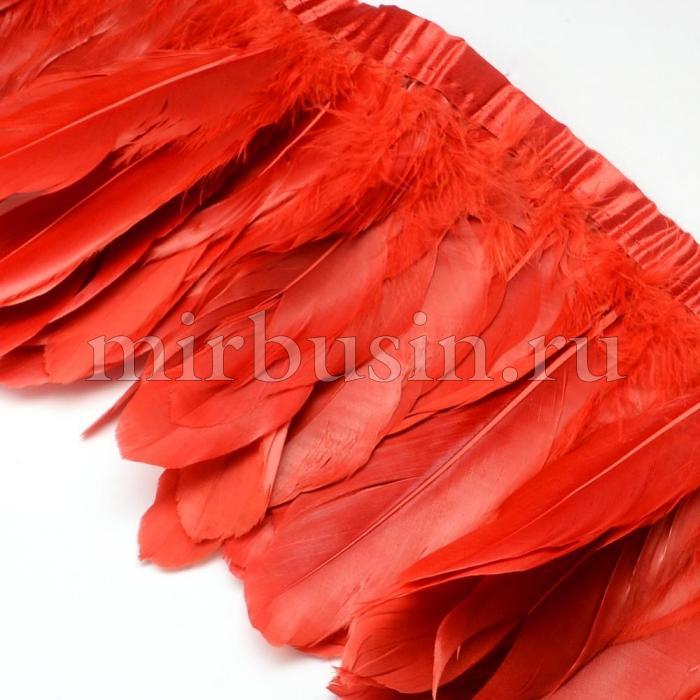 Перо гусиное декоративное на ленте, Цвет: Красный, Размер: 100~180x38~62мм, около 2м/упаковка, (УТ100015084)