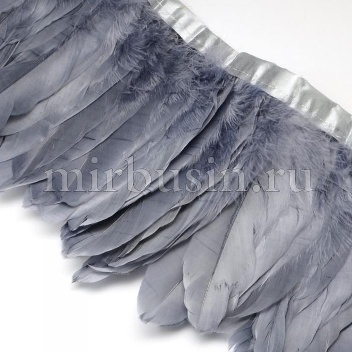 Перо гусиное декоративное на ленте, Цвет: Серый, Размер: 100~180x38~62мм, около 2м/упаковка, (УТ100015086)