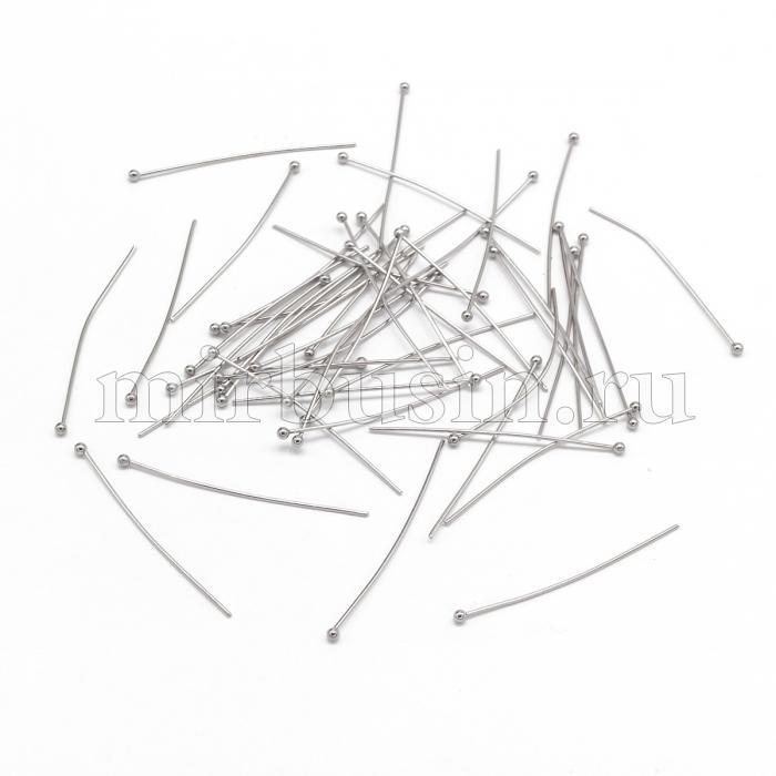 Пины с Шариком Нержавеющая Сталь, Цвет: Сталь, Размер: 40х0.7мм, Шарик: 2мм, (УТ100016416)