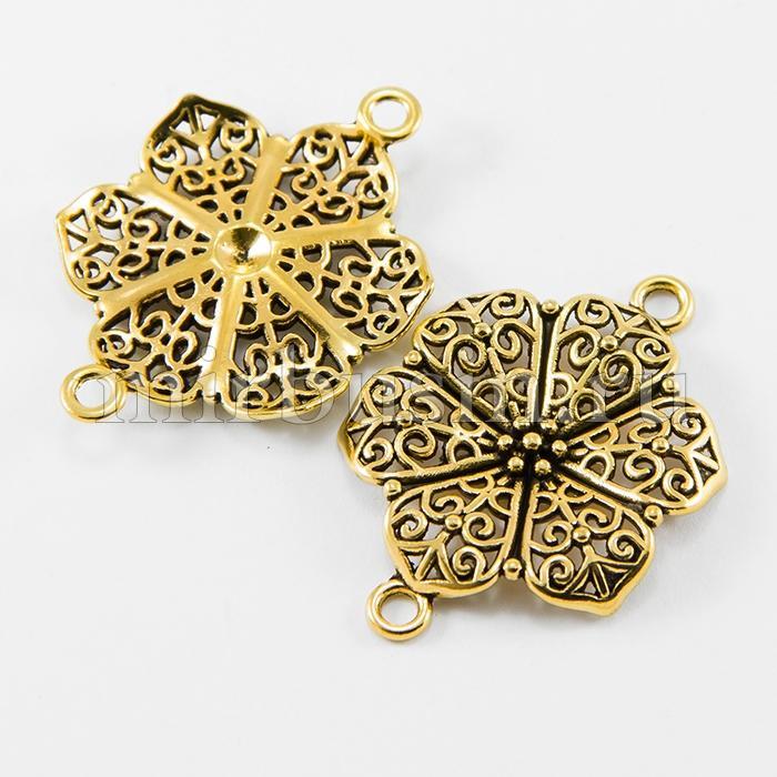 Коннектор Цветок из Сплава, 2 отверстия, Цвет: Античное Золото, Размер: 41х37х2.5мм, Отверстие 3мм, (УТ100016419)