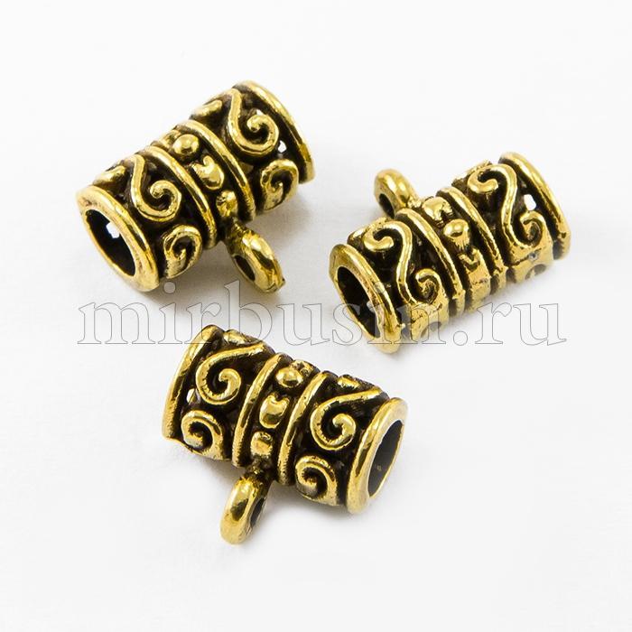 Бейл Трубка, Металл, Тибетский Стиль, Цвет: Античное Золото, Размер: 13х12х8мм, Отверстие 2мм, (УТ100010612)