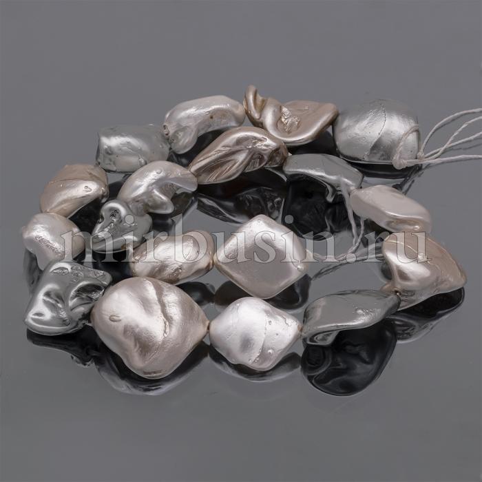 Жемчуг Перламутровый, Самородок, Цвет: Фламинго, Размер 15~22x10~21x10~15мм, Отверстие 0.8мм, около 17~23шт/40см/нить, (УТ100016431)
