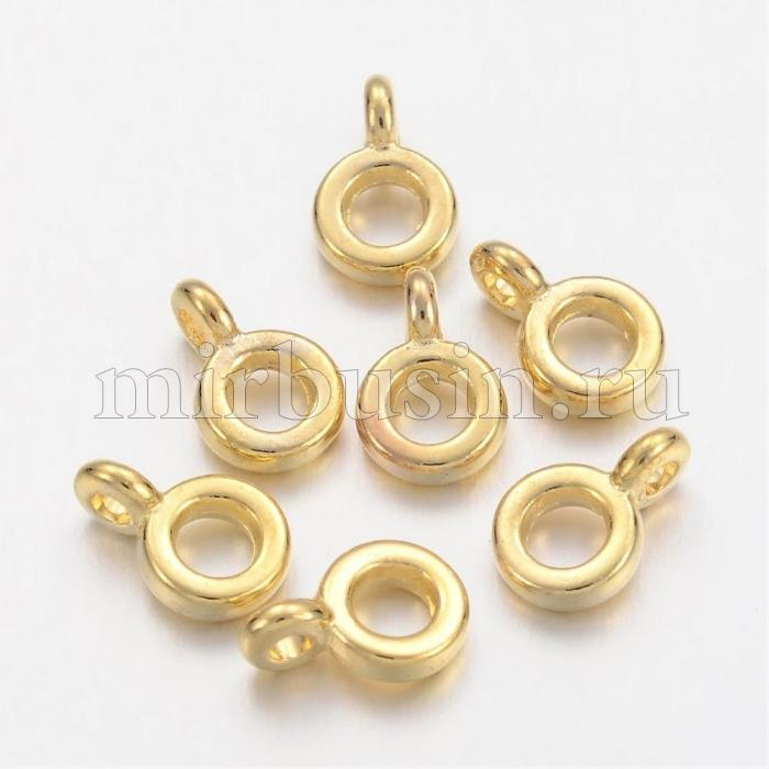 Бейл Рондель, Металл Тибетский Стиль, Цвет: Золото, Размер: Диаметр 6.5мм, Толщина 2мм, Отв-тие 2мм, (УТ100010591)