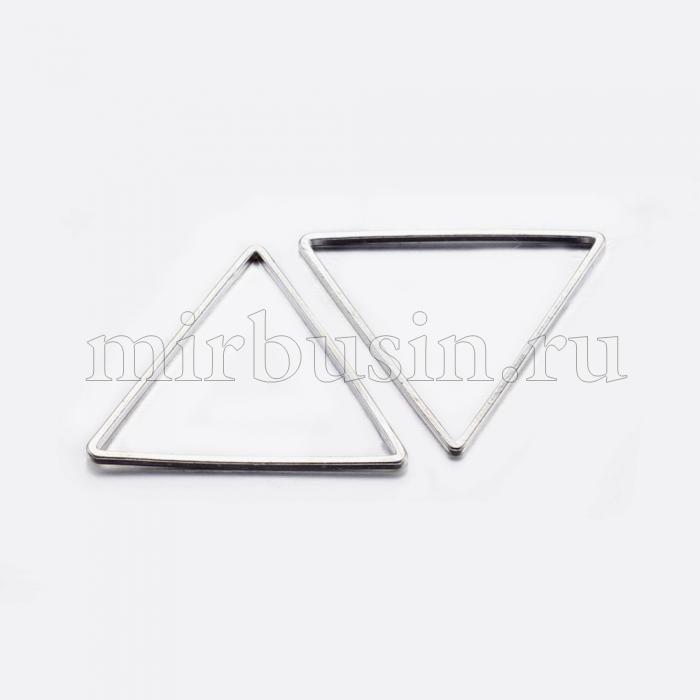 Коннектор Треугольник, Латунь, Цвет: Серебро, Размер: 23.5x27x0.8мм, Внутренний Диаметр 22x24мм, (УТ100016469)