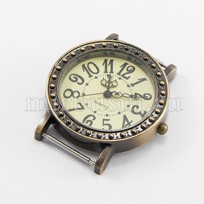 Основа для Часов из Сплава, Круглая, Плоская, Цвет: Бронза, Размер: 40x35x8мм, Отверстие 20х1мм, (УТ100016528)
