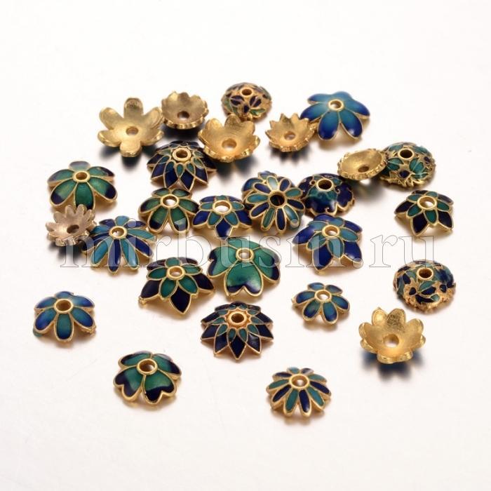 Шапочки для Бусин, Латунь, Эмаль, Цветок, Цвет: Золото, Размер: 5~11x2~3мм, Отверстие 1~1.5мм, (УТ100016542)