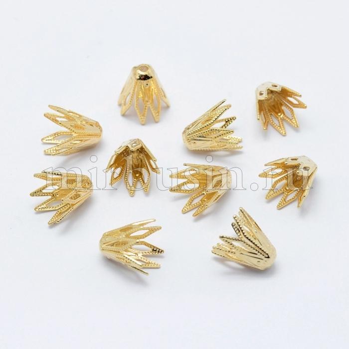 Шапочки для Бусин, Латунь, Стойкое Покрытие Золотом, Цветок, Размер: 9х9.5мм, Отверстие 1мм, (УТ100016565)