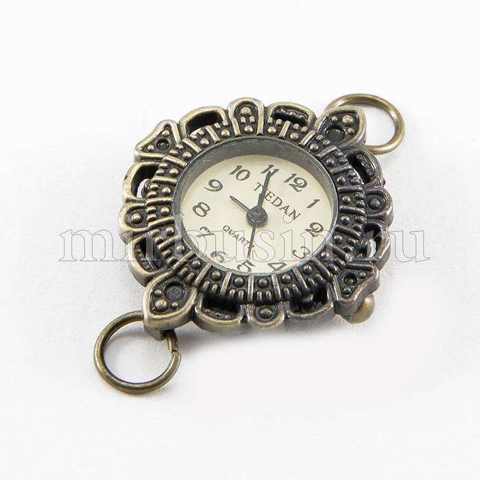 Основа для Часов из Сплава, Цвет: Бронза, Размер: 27~32x28~34x7~8мм, Отверстие 6~7мм, (УТ100016586)