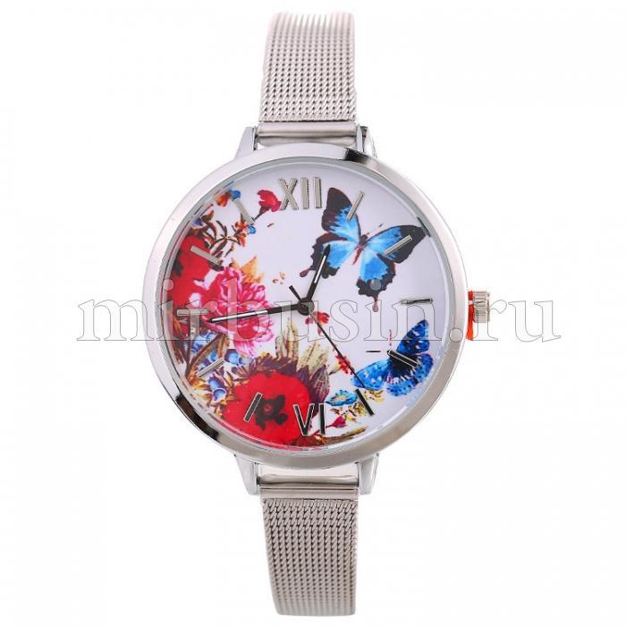 Часы Женские из Сплава, Водостойкие, Цвет: Серебро, Размер: 40х7мм, Длина 229мм, 1шт (УТ100016608)