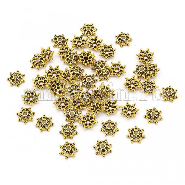 Шапочки для Бусин из Сплава, Цветок, Цвет: Античное Золото, Размер: Диаметр 9мм, Толщина 3мм, Отверстие 1.5мм, (УТ100016644)