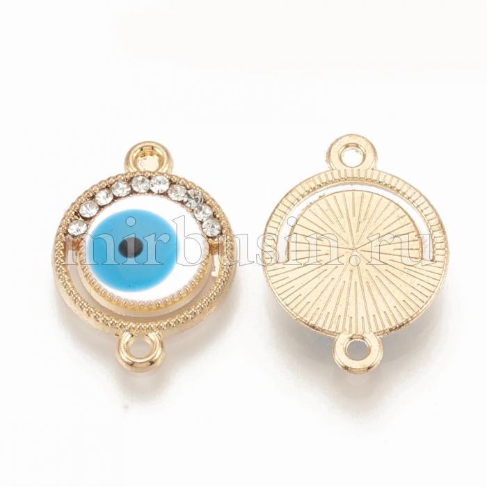 Коннектор Глаз Сплав + Эмаль + Стразы, 2 отверстия, Цвет: Небесно-голубой, Размер: 18x13x2.5мм, Отверстие 1.4мм, (УТ100016690)