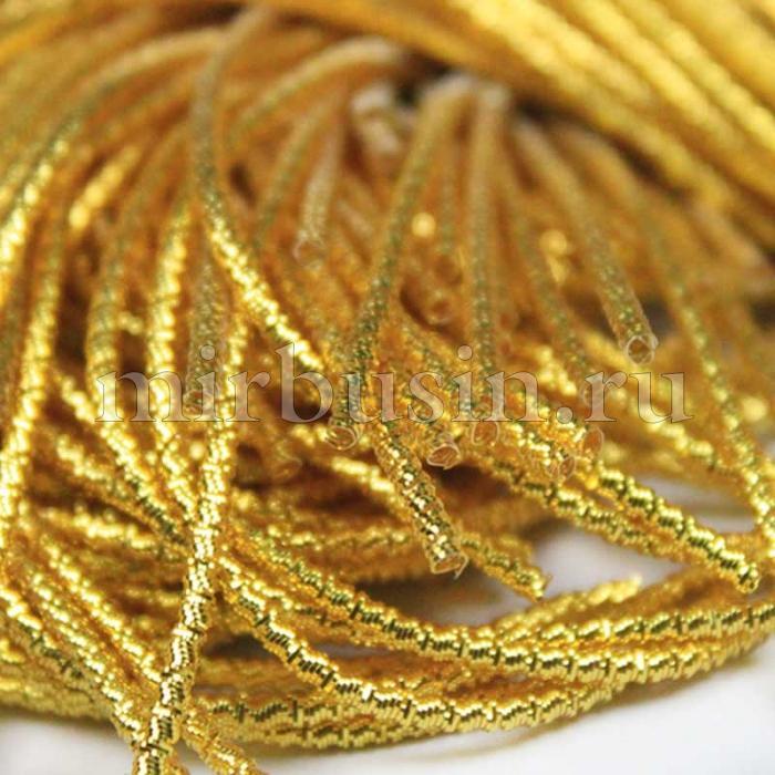 Канитель Трунцал 4 грани, Цвет: Желтое Золото, Отрезки не Менее 8см, Диаметр 1мм, около 3м/10г, (УТ100016704)