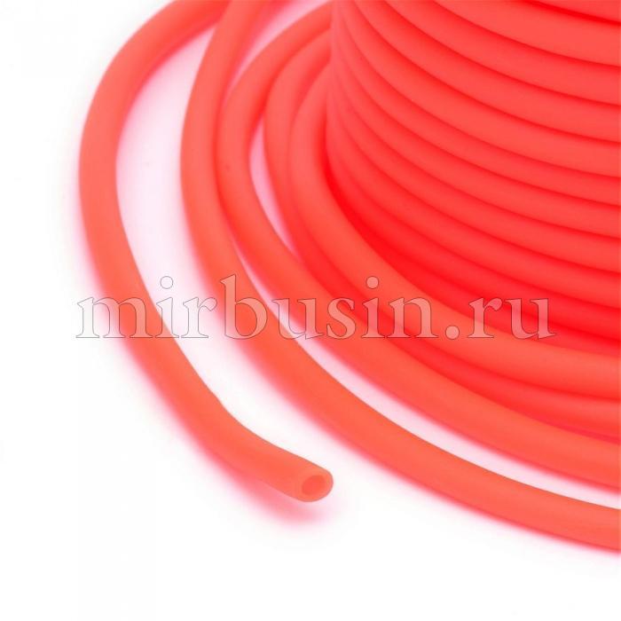 Шнур Резиновый Синтетический, Полый, Цвет: Коралловый, Размер: Толщина 2мм, Отверстие около 1мм, (УТ100016741)