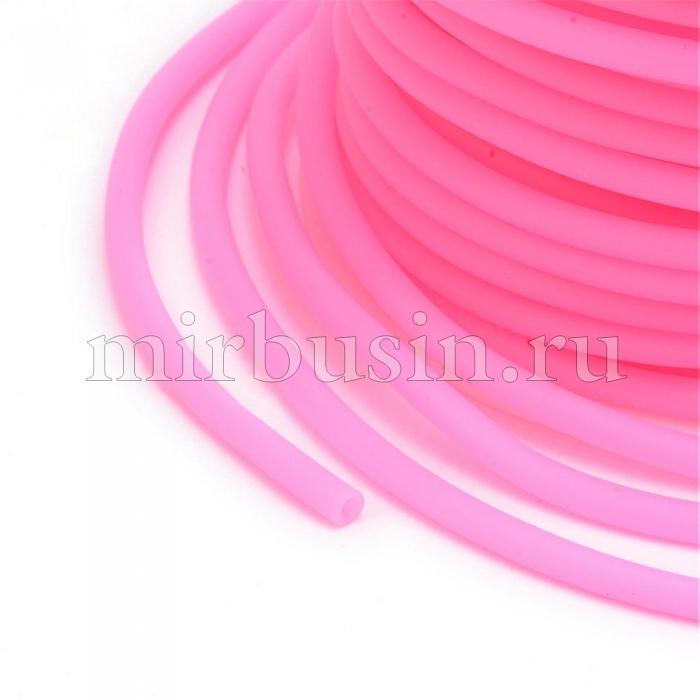 Шнур Резиновый Синтетический Полый, Цвет: Ярко-розовый, Толщина 3мм, Отверстие 1.5мм, (УТ100016757)