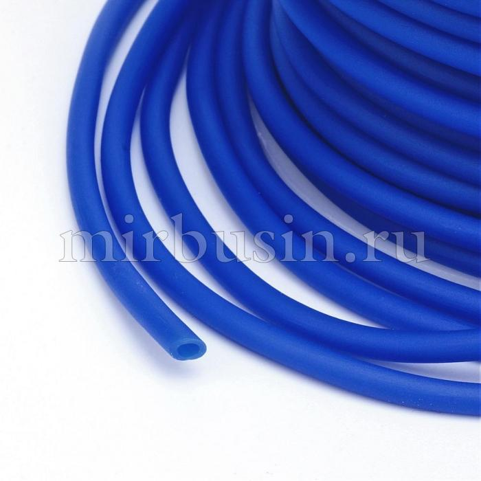 Шнур Резиновый Синтетический Полый, Цвет: Синий, Толщина 3мм, Отверстие 1.5мм, (УТ100016760)