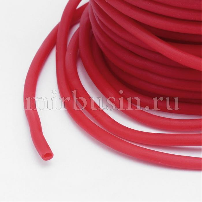 Шнур Резиновый Синтетический Полый, Цвет: Красный, Толщина 3мм, Отверстие 1.5мм, (УТ100016761)
