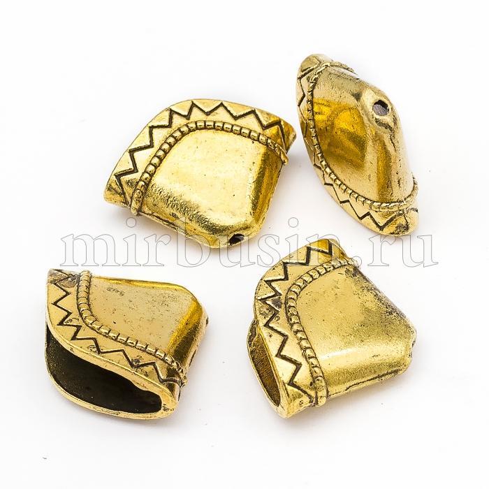 Конус Шапочки для Бусин из Сплава, Цвет: Античное Золото, Размер: 17х23х8мм, Отверстие 1.5мм, (УТ100016780)