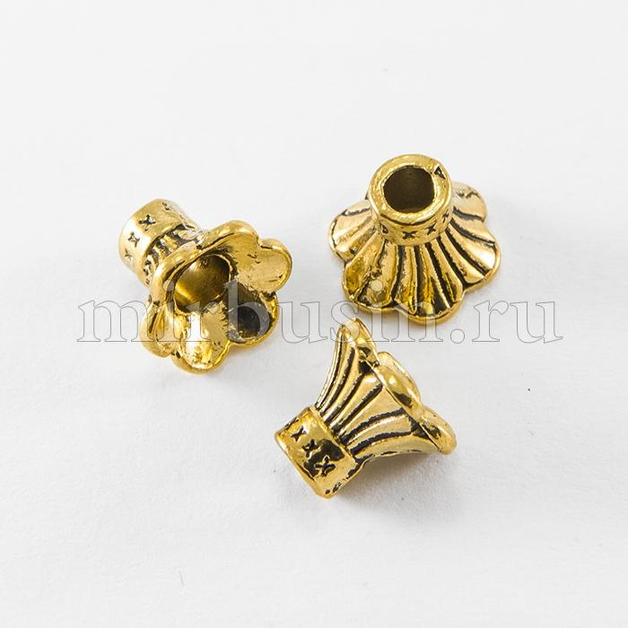 Конус Шапочки для Бусин из Сплава, Цвет: Античное Золото, Размер:  9x10.5x11мм, Отверстие 3мм, (УТ100016784)