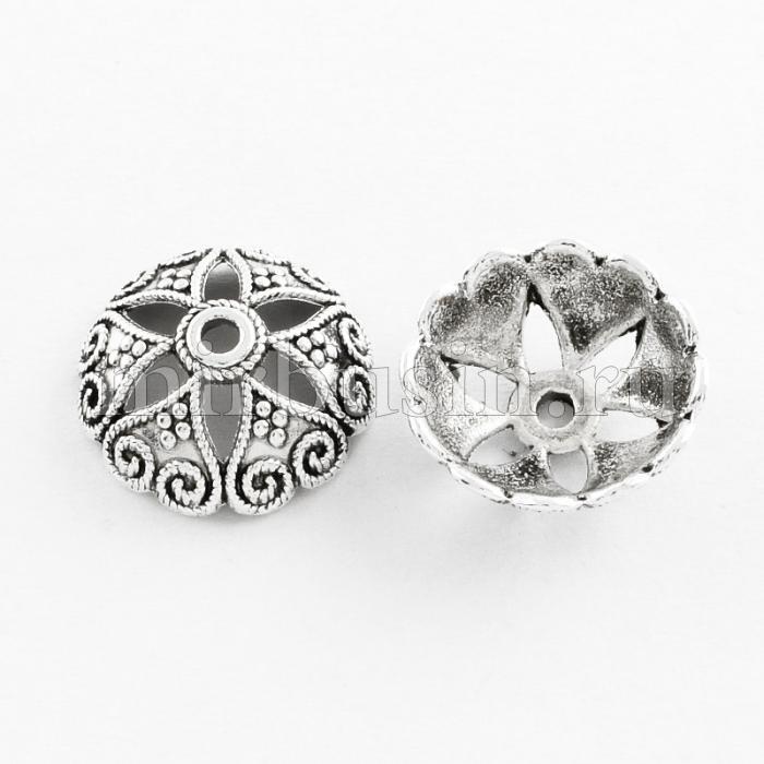 Шапочки для Бусин, Сплав, Цветок, Цвет: Античное Серебро, Размер: 15х6мм, Отверстие 2мм, (УТ100016790)