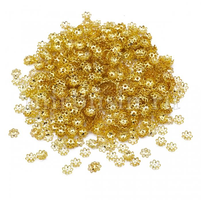 Шапочки для Бусин Железные, Цветок, Цвет: Золото, Размер: 6х1мм, Отверстие 1мм, около 940шт/25г, (УТ100016795)